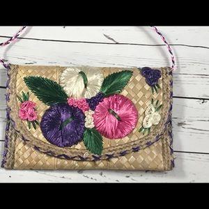 Vintage tiki shoulder bag 60's 70's straw purse